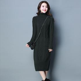 高领麻花紧身纯色针织连衣裙 货号YHYW168