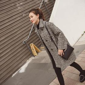 毛呢外套女冬中长款新款韩版格子小个子加厚呢子大衣GZHY-5208