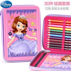 儿童绘画套装礼盒 迪士尼小学生水彩笔文具美术用品彩铅画画工具