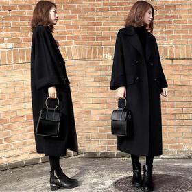 黑色中长款呢子大衣女过膝新款韩版赫本茧型毛呢外套GZHY-Z5206