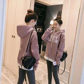 连帽卫衣新款韩版假两件磨毛宽松显瘦中长款加厚上衣GZHY-5209