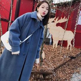 秋冬季ins赫本复古森系呢子大衣小个子港风chic毛呢外套女中长款GZHY-5211