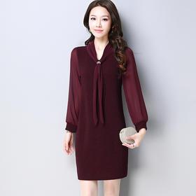 春季纯色气质优雅宽松休闲连衣裙 货号WQ8073