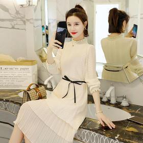 拼接时尚系带H型荷叶袖蛋糕裙 货号XMTZ1236