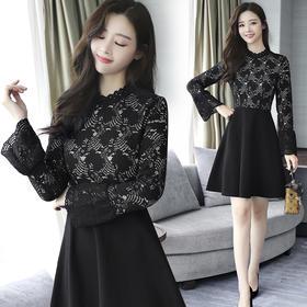 2018春季韩版女装新款气质修身蕾丝长袖收腰A字连衣裙GZHY-B011AM50023