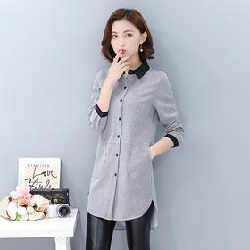 POLO领条纹中长款修身优雅长袖衬衫 货号XMTZ1037