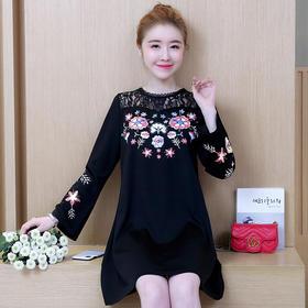 2018春装新款韩版大码女装连衣裙胖MM蕾丝拼接印花裙子GZHY-B60E96123