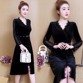 V领内搭蕾丝连衣裙长袖女2018新款中长款拼接收腰打底裙GZHY-B60E96067