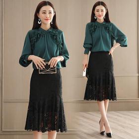 2018春款韩版时尚灯笼袖上衣 蕾丝半身裙套装GZHY-C133C76935