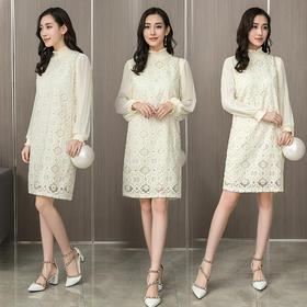 2018春季新款简约气质连衣裙压褶长袖拼接蕾丝长裙GZHY-C706BT0234