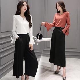 2018春装潮流新款气质上衣 宽松阔腿裤女时尚两件套套装GZHY-C133C72089