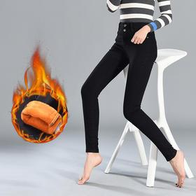 2018韩版高腰牛仔长裤女新款排扣加绒修身显瘦铅笔裤GZHY-A10FBA1910A