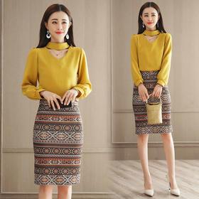 2018春装新款韩版时尚V领衬衫 高腰半身裙套装GZHY-C133C76880
