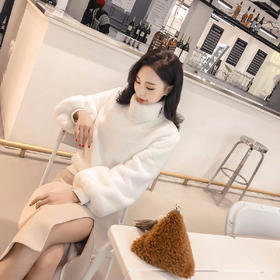 2018新款韩版高领仿兔毛衫女 加厚保暖套头时尚宽松毛衣 GZHY-WH-152