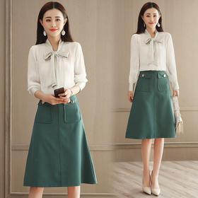 2018春新款韩版蝴蝶结衬衫 大摆半身裙套装女GZHY-C133C76902