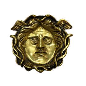 【菲集】 艺术品 1900年 赫耳墨斯头像铜盘 桌面摆件 轻古董收藏品 跨境直邮