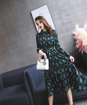 2018新款韩国复古气质显瘦收腰系带菱格长袖连衣裙长裙GZHY-A532A8803