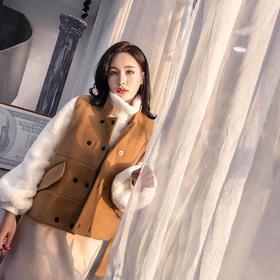 2018新款文艺毛呢加绒背心马甲女英伦冬季韩版短款外套 GZHY-WH-137