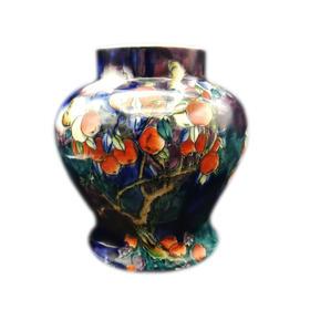 【菲集】 艺术品 1920年手绘球型花冠花瓶 陶瓷制品 轻古董 跨境直邮