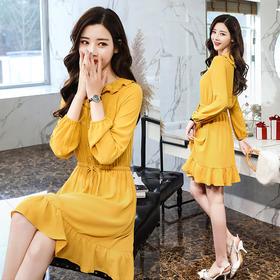 2018春季新款长袖雪纺连衣裙女甜美中长款荷叶边裙GZHY-M3003