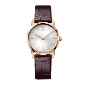 CK手表CITY系列情侣表女表白盘PVD玫瑰金表壳咖啡色皮带石英表K2G23620