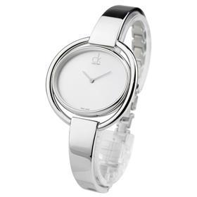 CK手表IMPETUOUS系列女表简约时分针椭圆形表盘白盘钢带石英表K4F2N116