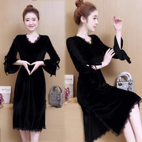 2018春装新韩版修身中长款V领连衣裙蕾丝花边开叉裙子GZHY-B60E96056