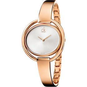 CK手表IMPETUOUS系列女表简约时分针椭圆形表盘白盘镀金钢带石英表K4F2N616
