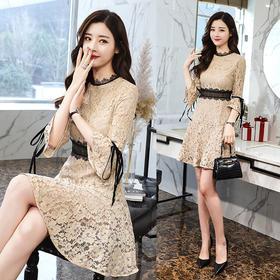 2018新款春装气质喇叭袖修身显瘦蕾丝鱼尾连衣裙GZHY-M3002