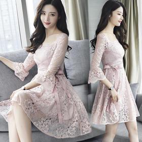 2018春季韩版蕾丝连衣裙新款时尚修身收腰大摆A字裙子GZHY-B011AM50012