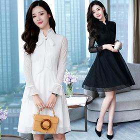 2018春季新款女装时尚打底裙内搭长袖蕾丝连衣裙中长款GZHY-A925A5843