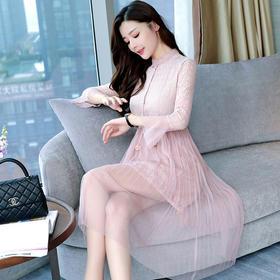 2018春季新款韩版甜美网纱拼连衣裙中长款喇叭袖高腰裙GZHY-A925A5850