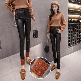 2018新款女装韩版显瘦小脚裤女涂层皮裤加绒打底裤GZHY-C265C16692