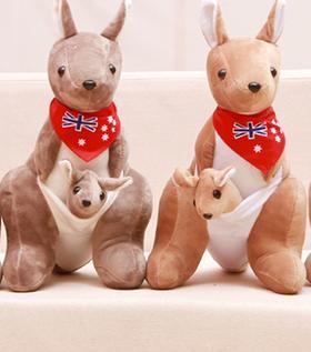 热销母子袋鼠毛绒玩具澳大利亚亲子袋鼠公仔澳洲特色公司礼品礼物