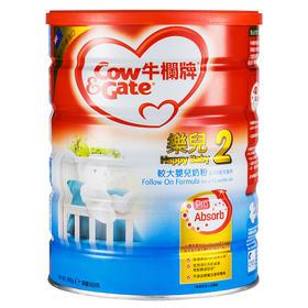 新西兰 Cow & Gate 港版牛栏牌乐儿婴幼儿配方奶粉2段 900g  (2罐/4罐/6罐)