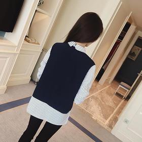 【49选5】【一件显瘦不挑人的衬衫】韩版女士宽松长袖假两件条纹拼接衬衫 M号(建议120斤左右)