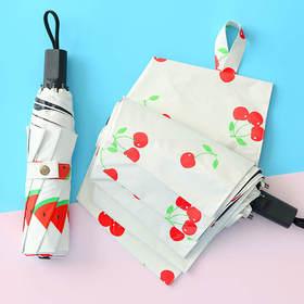 卡通小清晰水果黑胶雨伞 遮阳防晒两用 文具