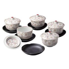 抚松庵美浓烧陶瓷带盖茶杯茶碗茶托5组套装