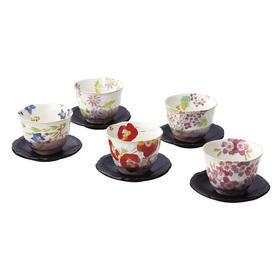抚松庵系列美浓烧陶瓷茶杯托茶具5件套