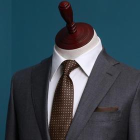 男士全麻衬工艺灰色单排平驳领二粒扣西服