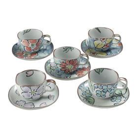 濑户烧陶瓷咖啡杯碟子手绘茶水杯茶具5件套