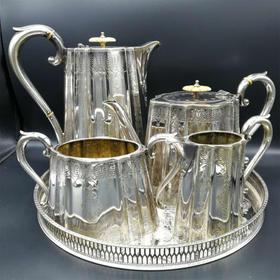 【菲集】艺术品 1885年老谢镀银茶具四件套 买茶具送茶托 工艺级轻古董