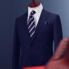 男士100%羊毛半麻衬工艺单排两粒扣西服