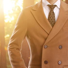 eabri冬季新款修身双排扣纯新羊毛大衣
