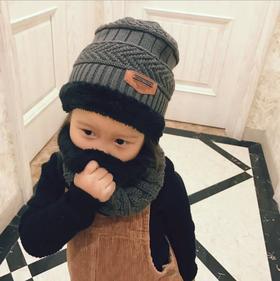 【帽子】*韩版加厚毛线帽儿童加绒宝宝冬季保暖帽子围巾两件套男孩女孩围脖 | 基础商品