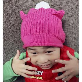 猫咪毛线帽子编织材料包小辛娜娜棒针编织宝宝帽子多股小羊绒毛线