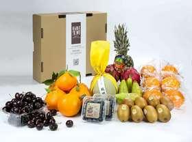水果套餐3(9个品种、智力车厘子1000g、不知火丑橘6个、智利蓝莓2盒、日本网纹蜜瓜1个、DOLE菲律宾金菠萝1个、比利时长啤梨4个、新西兰金奇异果8个、紫水晶火龙果2个、农夫山泉17.5°橙6个)