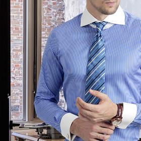 男士异色领一字领蓝白条法式衬衫 礼服衬衫