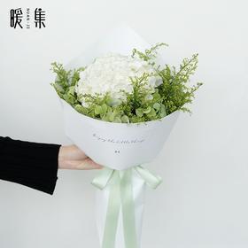 【白鲸】白色绣球黄莺鲜花花束