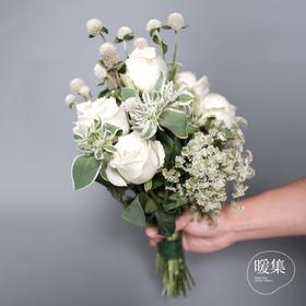 【遇见】白玫瑰白色系鲜花花束